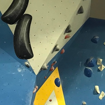 a climber wearing a Bay Area Climbers Coalition hoodie climbing an indoor boulder problem